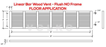 linear bar wood vent drawing spec cut sheet floor vent