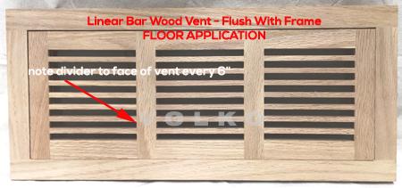 linear bar oak wood vent flush with frame register