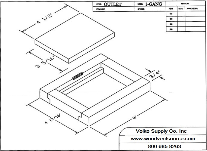 Wood floor outlet cover spec drawing