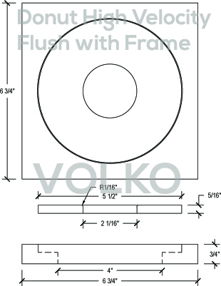 Round Open Flush WITH Frame High Velocity Wood Vent Cover