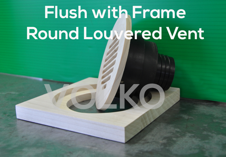 Round Louvered High Velocity Wood Vent Cover WITH Coupler
