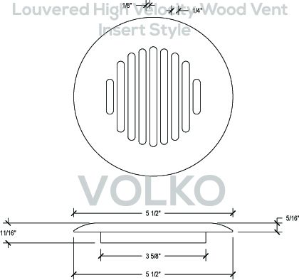 Round Louvered Insert High Velocity Wood Vent Cover