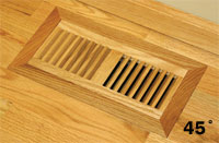Flush WITH Frame Wood Floor Vent with 45 degree Corners