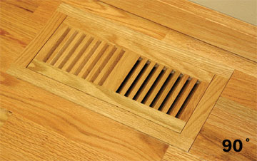 Flush WITH Frame Wood Floor Vent with 90 degree Corners