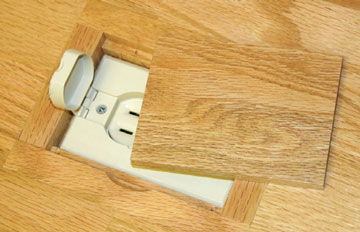 Electrical outlet cover for wood floors